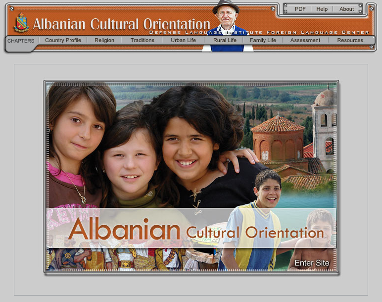 Screenshot of Cultural Orientation page