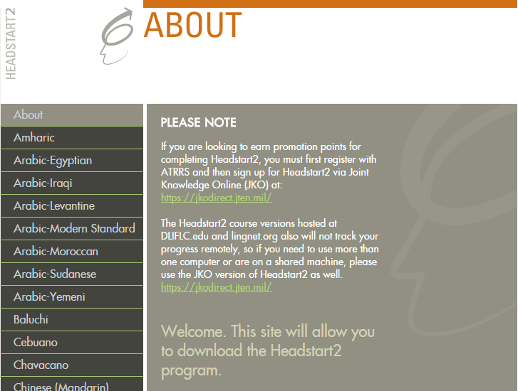 Screencapture of Headstart2 website