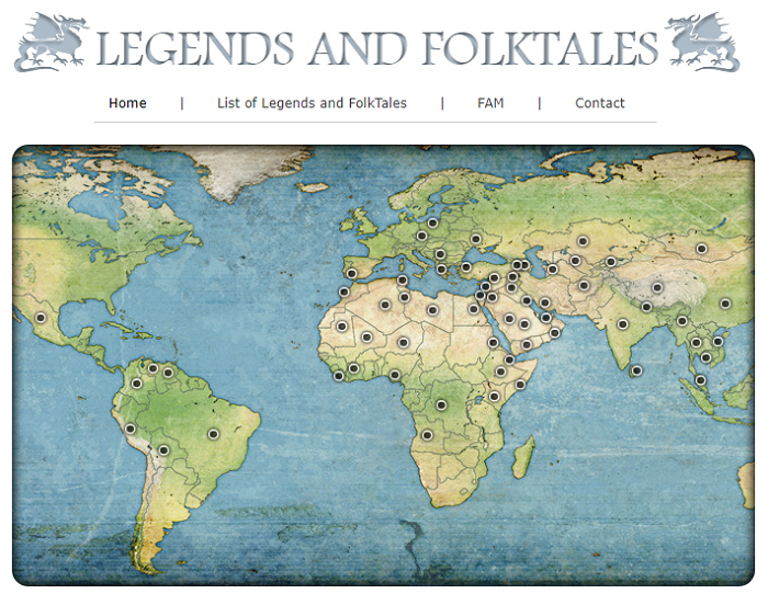 Screencapture of the Legends and Folktales website