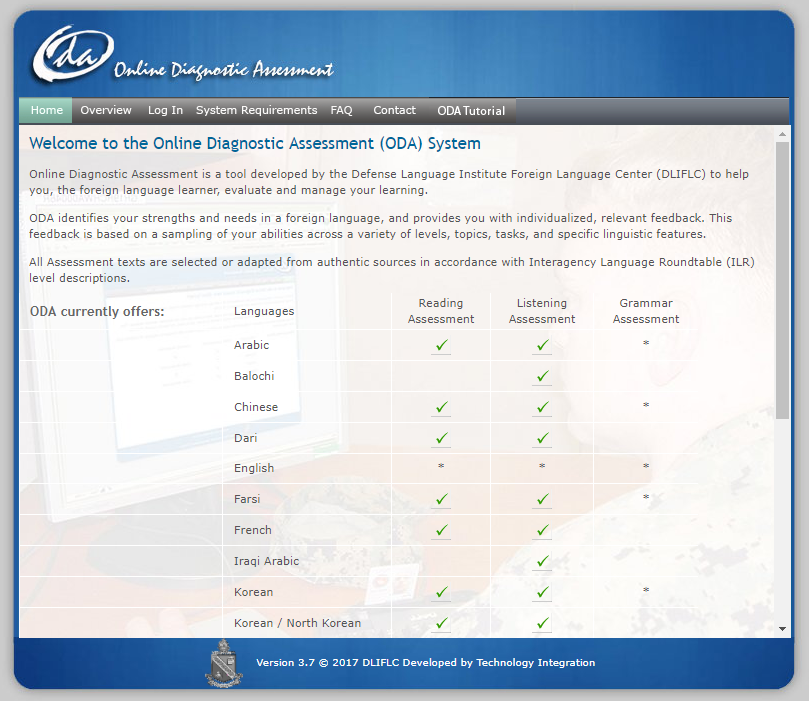 Screenshot of Online Diagnostic Assessment page