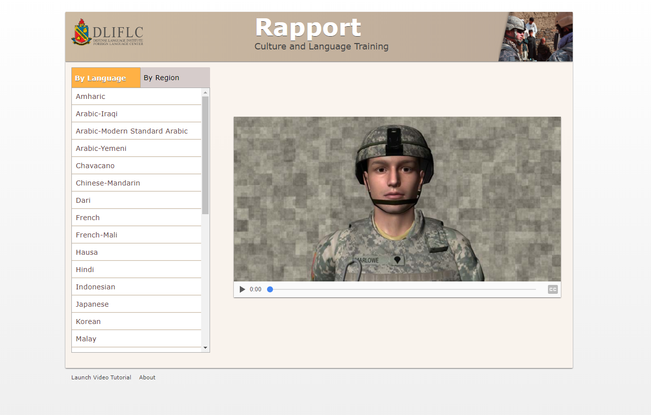 Screenshot of Rapport page