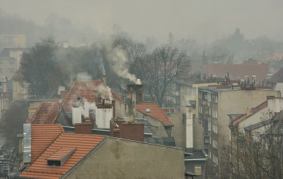 Smog-filled sky over rooftops in Poland
