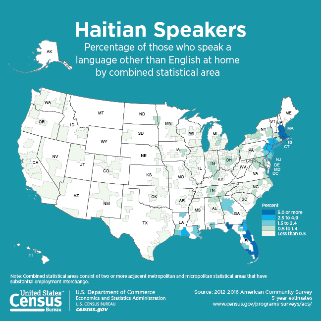 Detailed map showing density of Haitian language speakers across the United States