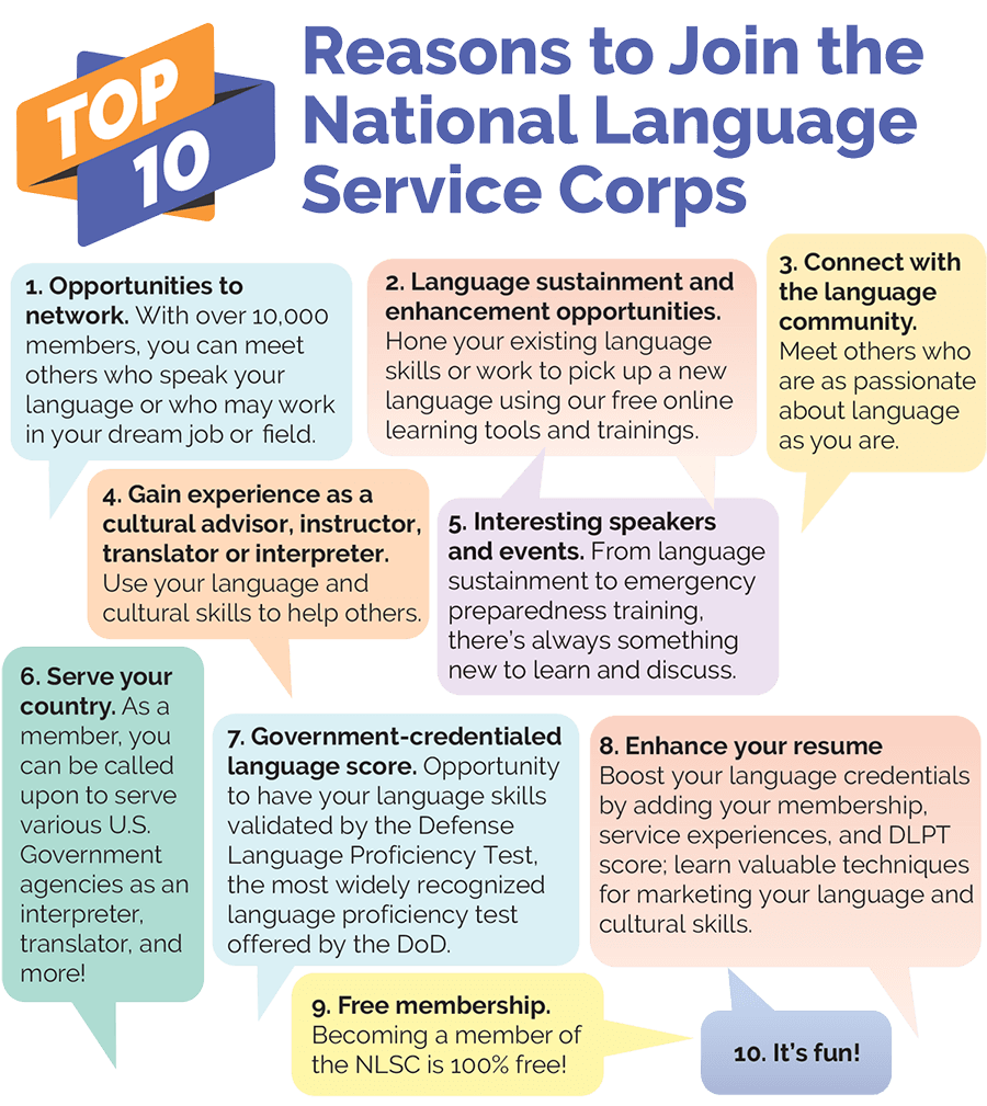 Infographic of 10 reasons to join the National Language Service Corps