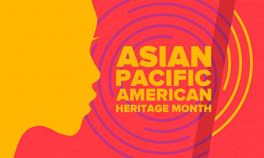 "Silhouette of the profile of a person's face, with the text ""Asian Pacific American Heritage Month"""