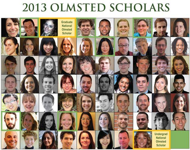 A mosaic view of the 2013 Olmsted Scholars' faces.