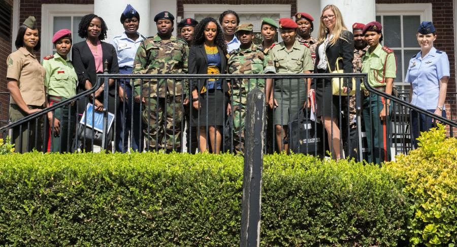 "Participants attending the AFRICOM ""Women, Peace and Security"" forum pose for a photo."