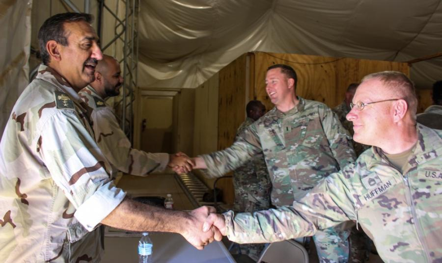 Soldiers participate in a key leader engagement near Camp McGregor, N.M. to prepare for deployment to the Middle East