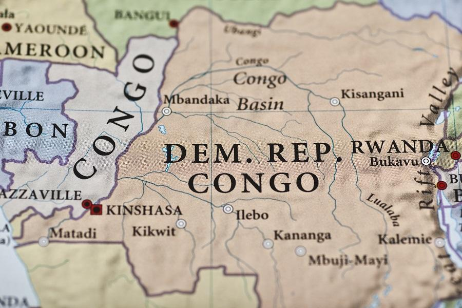 Close-up on a map of the Democratic Republic of the Congo