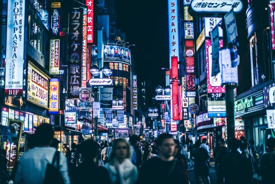 Night-time image of city of Shibuya, Japan