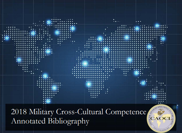 Map of the world with glowing blue dots highlighting cities. At the bottom, it says 2018 Military Cross-Cultural Competence Annotated Bibliography next to the CAOCL logo.