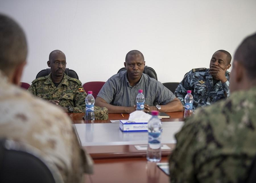 Dr. Simon Nyambura, director, Intergovernmental Authority on Development Center of Excellence for Preventing and Countering Violence Extremism, speaks during the first-ever formal meeting with foreign liaison officers and U.S. military members.