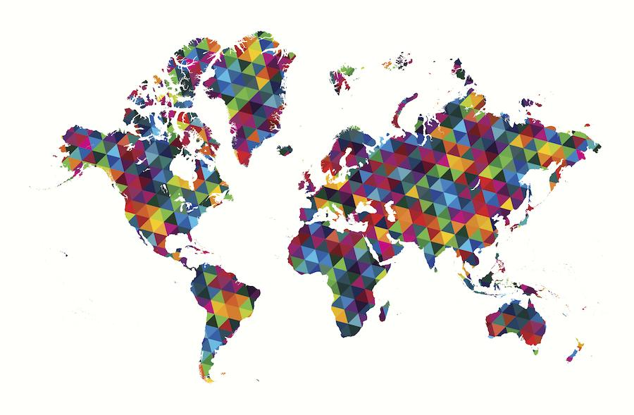 World map decorated with an abstract geometric pattern