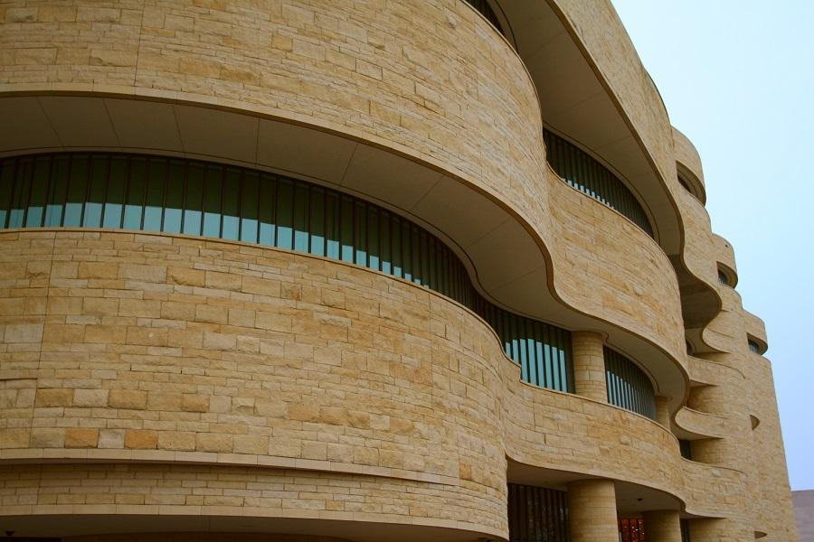 Close-up shot of the National Museum of the American Indian building in Washington, D.C.