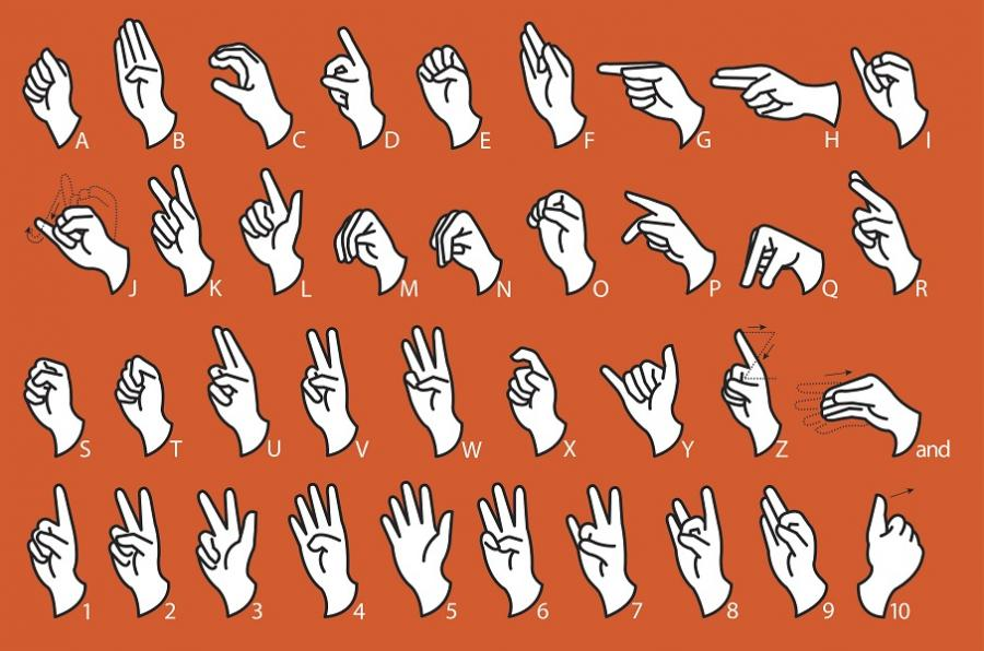 Illustration of hands showing the letters and numbers in the American Sign Language alphabet