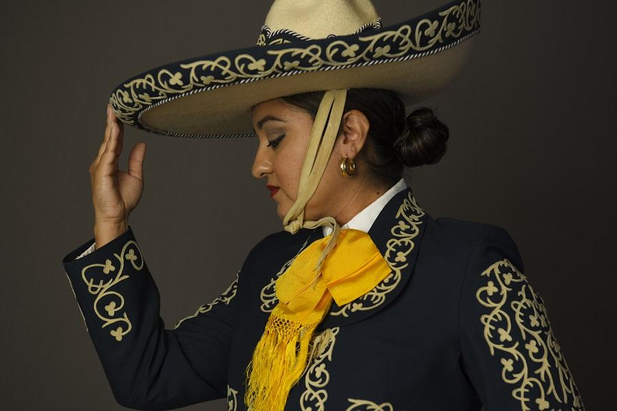 U.S. Air Force Master Sgt. Galicia Castillo poses in a traditional Mexican outfit.