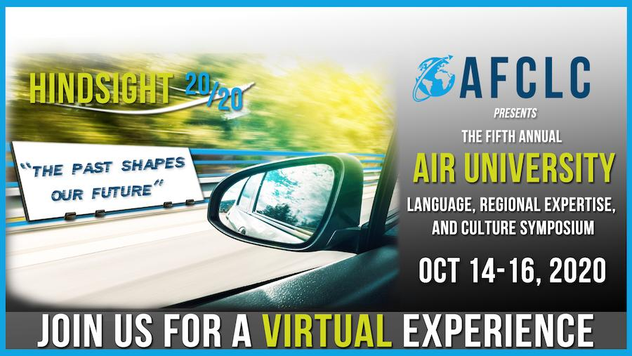 Banner image for the virtual 2020 AFCLC AU LREC Symposium. Image is of a car sideview mirror, with the road and trees in the background blurring.