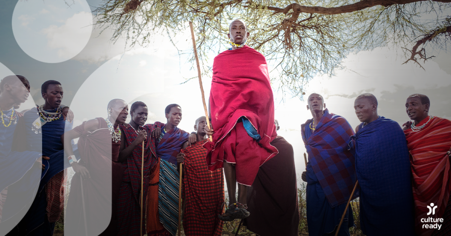 Group of men from the Maasai tribe in Tanzania