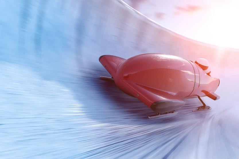 Image of a bobsled going down a track