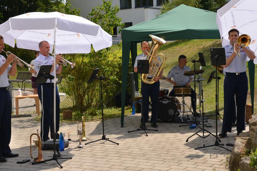 The U.S. Air Forces in Europe Band's Five-Star Brass quintet performed for senior citizens at Böblingen and Singlefingen nursing homes on August 1. Photo by Larry Reilly, USAG Stuttgart Public Affairs