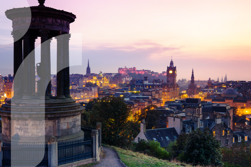 A view of Edinburgh, Scotland at sunset taken from Calton Hill