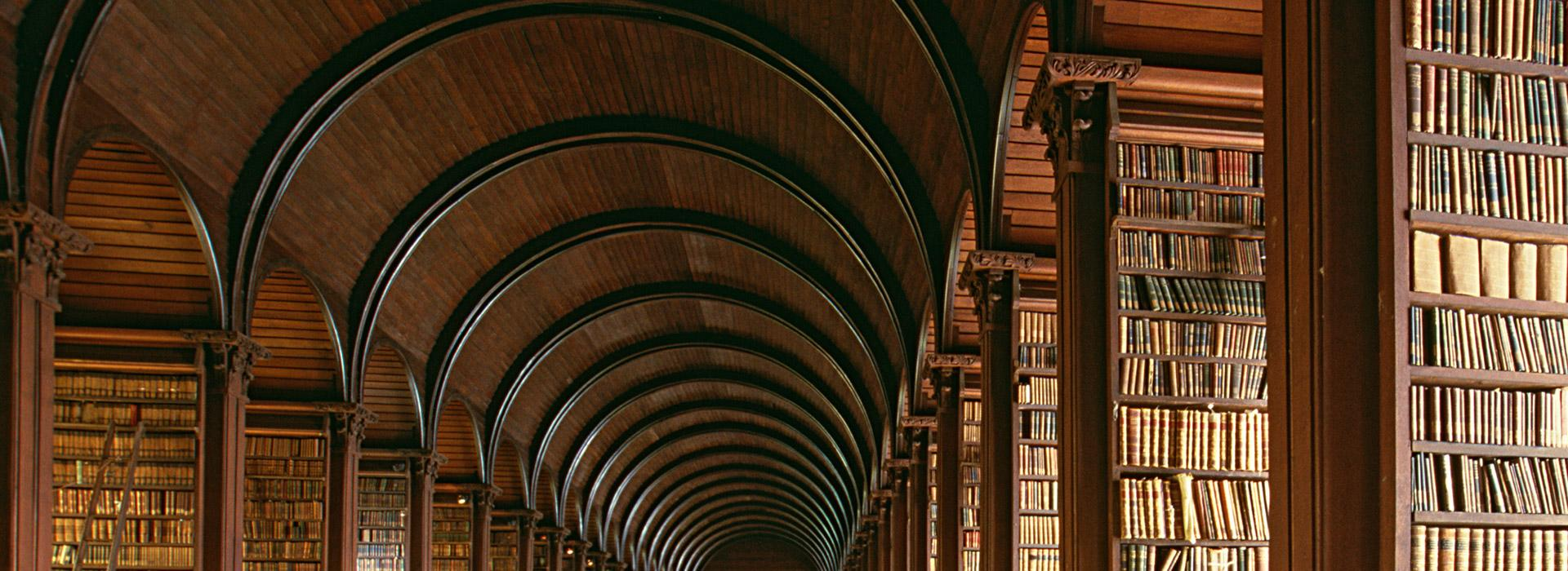 Arched ceiling in Trinity College Library in Dublin Ireland